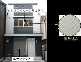 防火雨戸もしくはクロスワイヤー入りガラスの使用