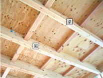 屋根や床を支える「梁」。ここにも大きな材を使用