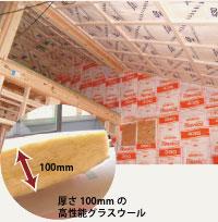 天井・最下階床まで貼り詰められた断熱材